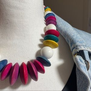 Vintage colorful wood and plastic necklace